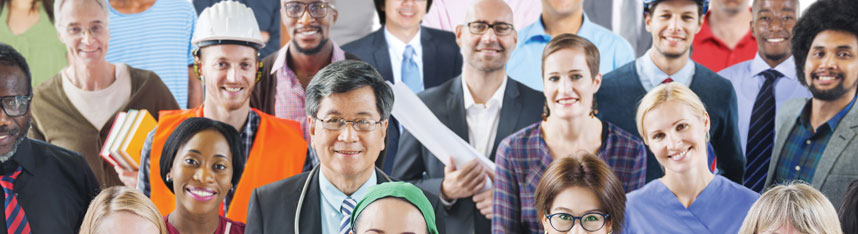 Career Services feature image of a group of people of different careers