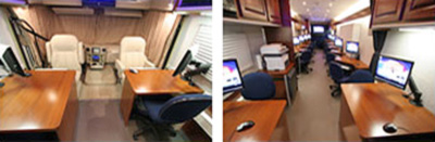 Two photos of a CSSF Mobile Unit's state of the art interior